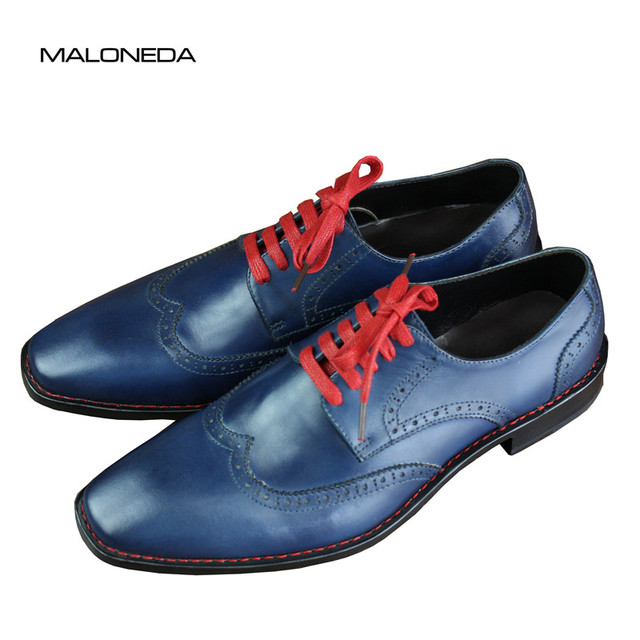 94abfc0b16f MALONEDA Free Shipping New Bespoke Goodyear Welted Handmade Genuine Leather  Comfortable Men's Lace Up Casual Shoes