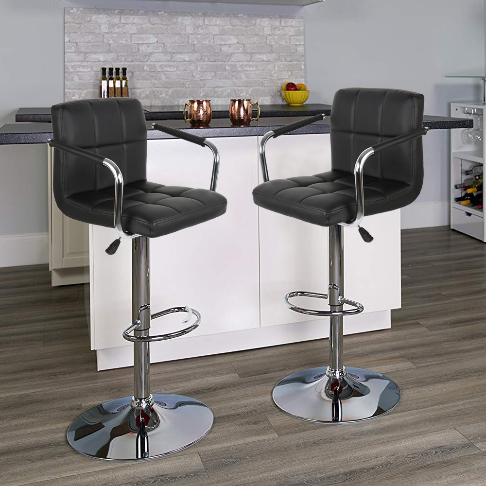 2Pc/set Adjustable Leather Bar Chair Lift Rotating Swivel Bar Stool With Armchair Synthetic Soft Home Furniture Kitchen Tool HWC
