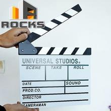 Wooden Director Video Scene Clapper board Film Movie Slateboard Cut Prop Promotion Size 30cm x 27cm Large Black White цена и фото