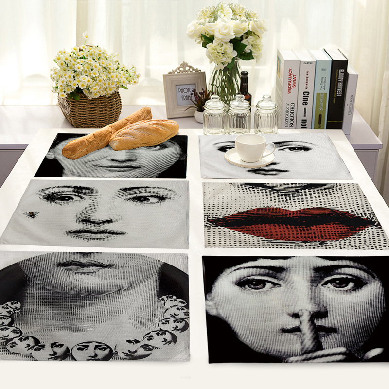 New Classical Cotton Linen Art Insulation Western Food Mat Vintage Fornasetti Master Coffee Mats Table Kitchen Accessory