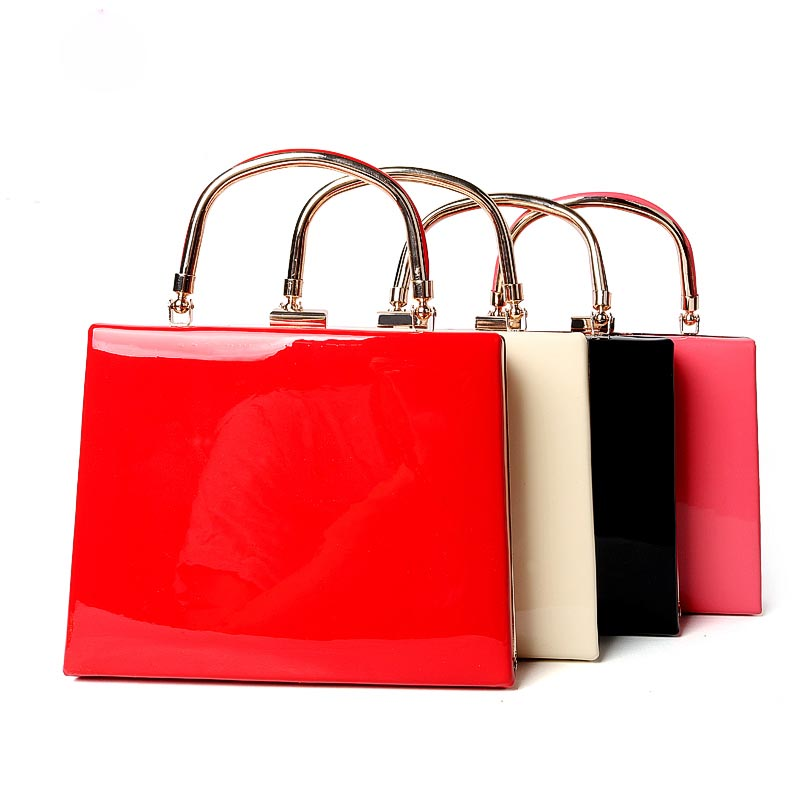 Classic High Grade Glossy PU Leather Lady Handbag Women Evening Bag Shoulder Bag Top Handle Bags