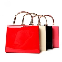 Classic High Grade Glossy PU Leather Lady Handbag Women Evening Bag Shoulder Bag Top Handle Bags
