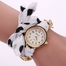 New Arrive Women Fashion Luxury Watch Gold Alloy Ladies Quartz Wristwatch Cloth Gril Sport Dress Watches Christmas Gift LS116(China)