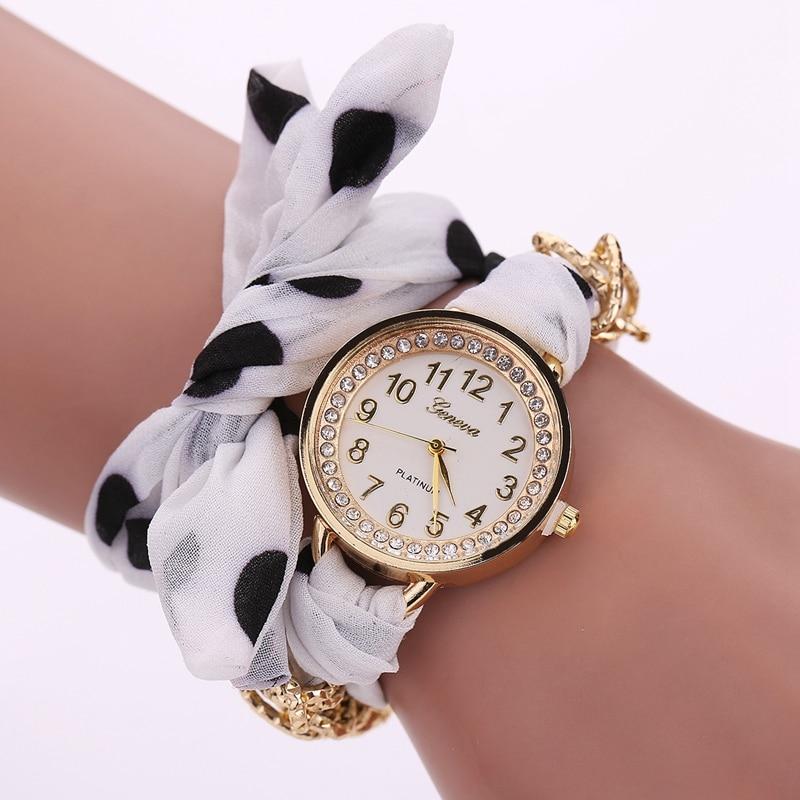 New Arrive Women Fashion Luxury Watch Gold Alloy Ladies Quartz Wristwatch Cloth Gril Sport Dress Watches Christmas Gift LS116