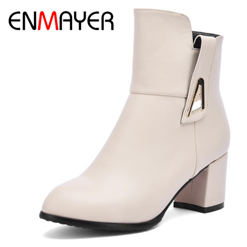 ENMAYER 2018 Sexy Woman Boots Worm Round Toe Boots Women Shoes Woman Platform High Heels Square Heels Ankle Boots CL006