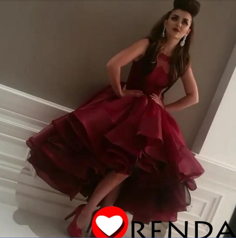 Actual Real Picture burgundy prom dresses Organza front short back long Sheer Scoop