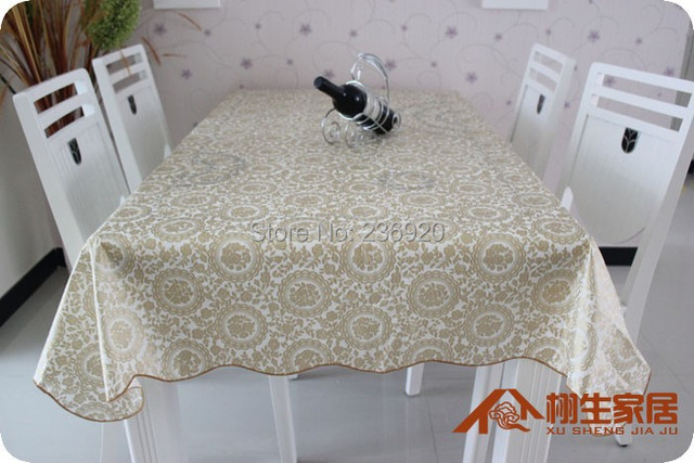 Golden Printed PVC Table Cloth Dinning Table Cover Oilproof Waterproof Heat Resistant  Tablecloth 137*