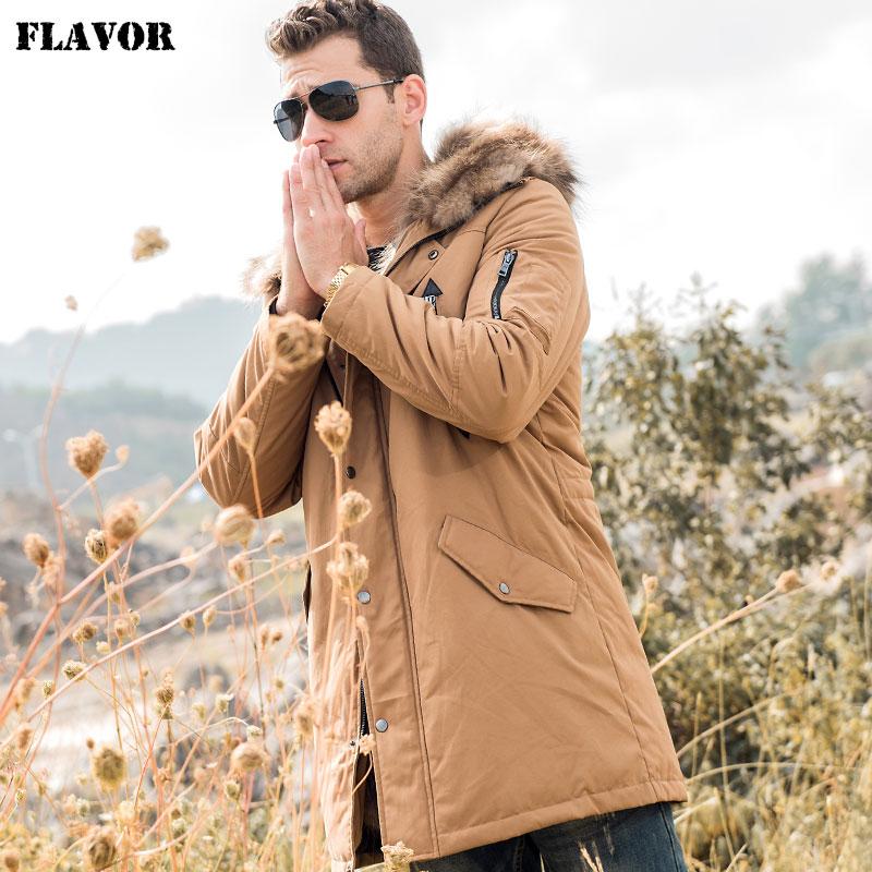 FLAVOR Men's Down Jacket Men Real Fur Parka with Removable Raccoon Fur Liner Hood Winter Long Warm Down Coat