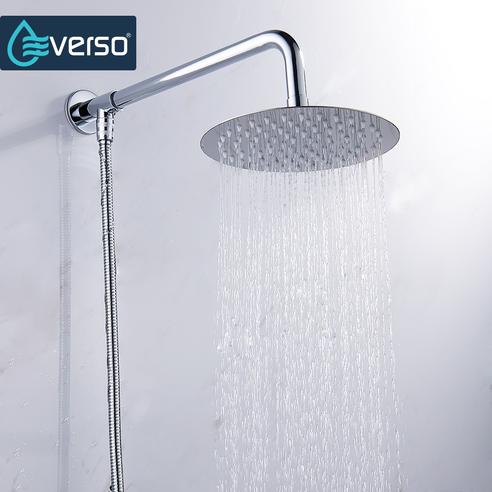 Everso 12/10/8/6/4 inch Stainless Steel Ultra-thin Waterfall Shower heads Rainfall Shower Head Rain Shower Square Round