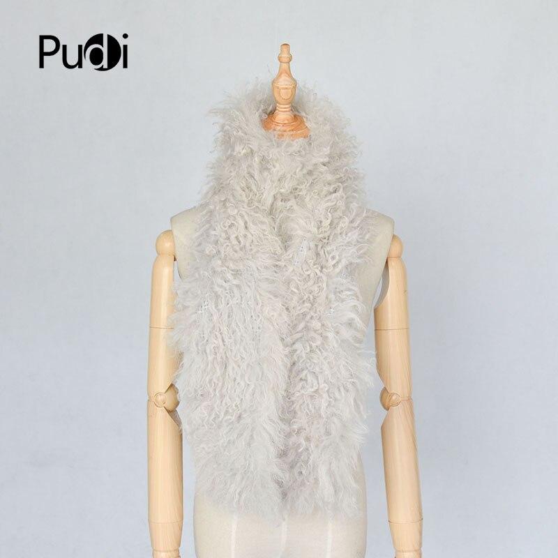 Pudi femmes réel mouton fourrure écharpe anneau 2020 nouveau style fille naturel mouton fourrure foulards châle SF838