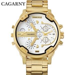 Image 4 - Cagarnyデュアルディスプレイ高級腕時計メンズスポーツクォーツ時計メンズゴールド鋼腕時計レロジオmasculinoドロップシッピング新2020