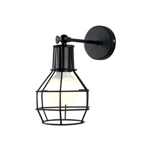 Vintage Black Cage Wall Light Bedside Retro Wall Lamp Mount Indoor Decorative Loft Bar Wall Sonce Wall Lights DIY Lighting loft industiral retro wall lamp glass flower cover iron wall light hotel bar indoor two wooden wall mounted swing arm lights