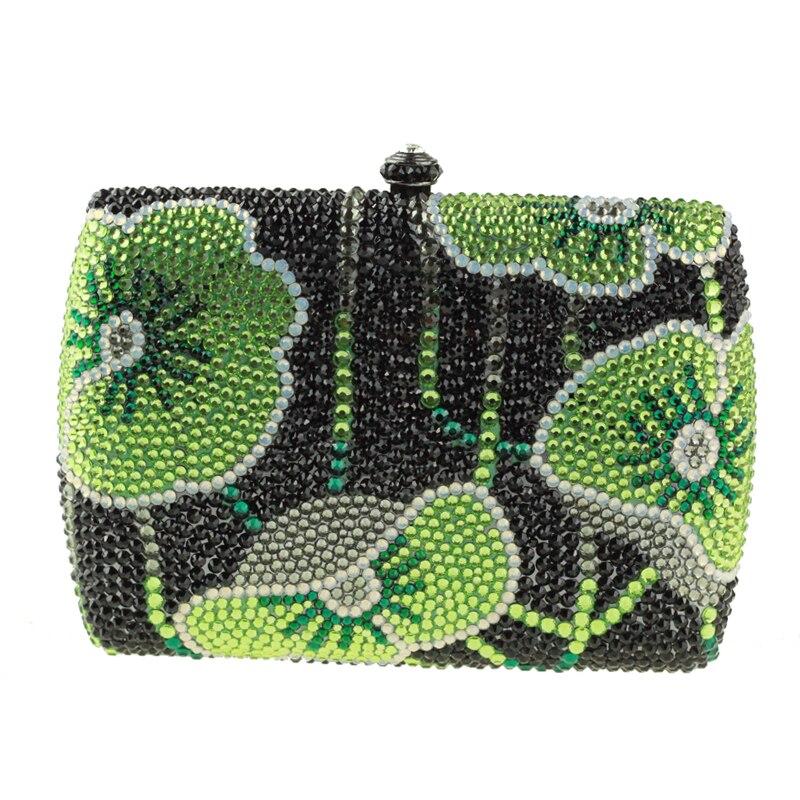 Canada Hot Sale Woman Handbag Green Mini Box Clutch Bag Rhinestone Floral  Small Clutch Purse Crystal