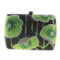 Canada Bán Hot Woman Handbag Nhỏ Màu Xanh Lá Cây Box Clutch Bag Rhinestone Floral Nhỏ Clutch Purse Pha Lê Evening Túi Bán Giá R