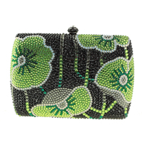 Kanada Sıcak Satış Kadın Çanta Yeşil Mini Kutusu Debriyaj Çanta Taklidi Çiçek Küçük Debriyaj Çanta Kristal Akşam Çanta Ucuz Satılık