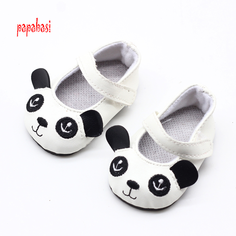 1pair Doll Shoes Fits 18 inch American Girl Doll Leather Shoes With panda Doll Accessories