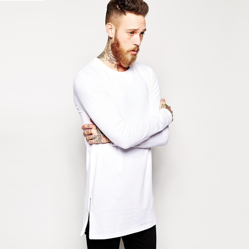 2018 Brandneu extra lange t-shirt für männer hip hop männer longline t-shirt lange hülse hohe tees seitlichem reißverschluss übergroßen t-shirt