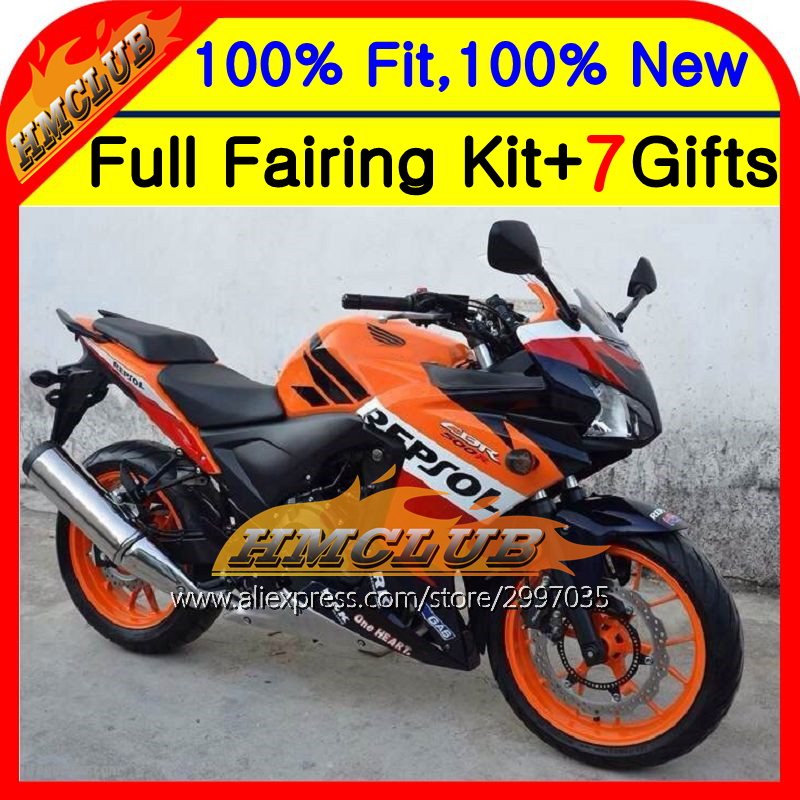 Repsol red Body For HONDA Injection CBR500R 13-15 CBR500RR 12HM11 CBR 500R CBR500 R 13 14 15 2013 2014 2015 Fairing  Orange