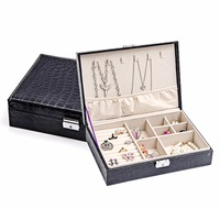 Epackfree Two Layer Lint Leather Jewellery Earrings Studs Necklace Wedding Gift Box Organizer Display Storage Case With Lock