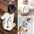 0-18 М Новорожденный Ребенок Мальчик в Девочке Одежда Для Новорожденных Дети Лисий Хвост Боди Одежда