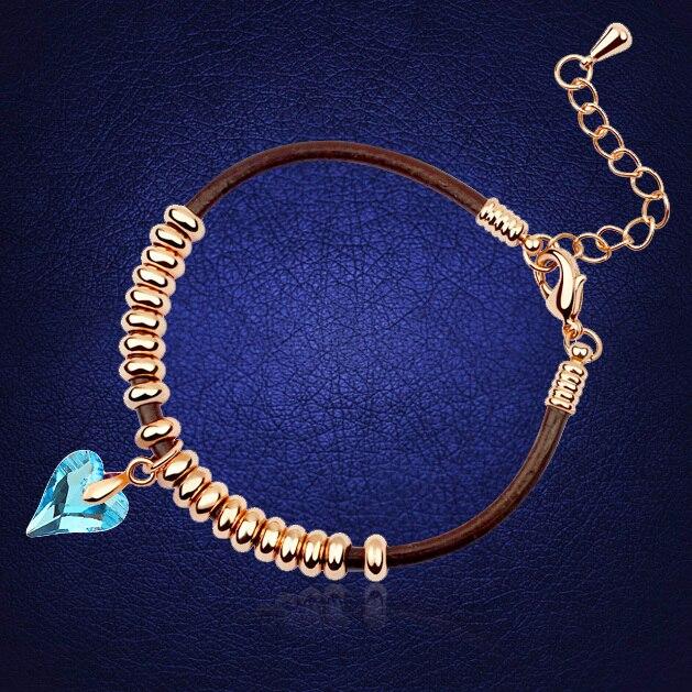 Hot Heart Bracelet Love Pulseras For Women Crystal From Swarovski Cristal Bijoux Gold Color Jewelry