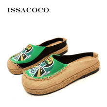 ISSACOCO New Natural Flax Home Slippers Handmade Linen Women Outside Shoes Non-sweat slippers women's sandals non-slip slippers недорого