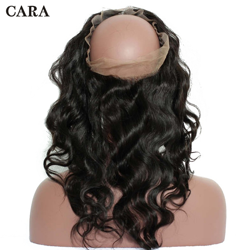360 Lace Frontal Closure With Baby Hair Body Wave 100% Brazilian Remy Hair Pre Plucked Natural Black Free Part CARA Hair