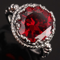 Attended By Crowd 12 12mm Gems Red Garnet 925 Sterling Silver Women S Fashion Party Jewelrys