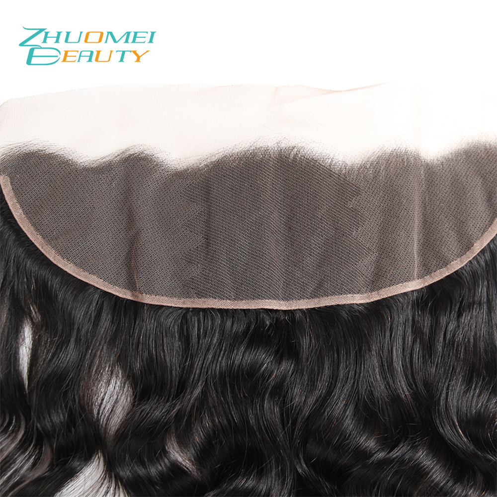 Zhuomei BEAUTY Peruvian Hair Loose Deep Wave Lace Frontal Closure Ear to Ear Pre Plucked 13x4 Swiss Lace Natural Color Remy Hair