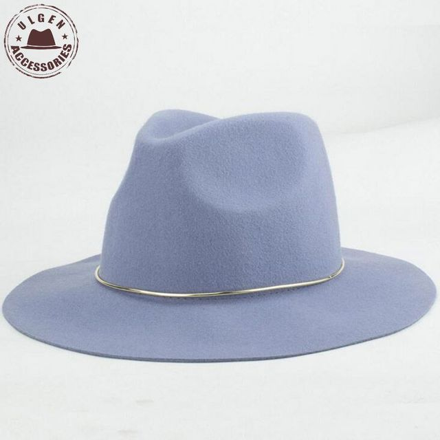 New Fashion womens fedora hat light color 100% wool wide brim fedoras hat  for women 55eff68f3fe