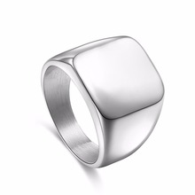 Square Big Width Signet Rings Fashion man Finger Silver Men Ring Titanium Steel