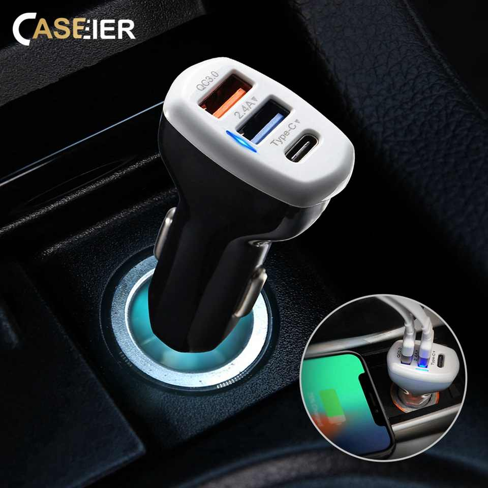 Caseier Mobil USB Charger Pengisian Cepat 3.0 untuk Samsung S9 2.4A USB Ponsel Charger untuk iPhone X Max XR X typc-C DP + QC 3.0 Charger