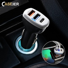 CASEIER Car USB Charger Quick Charge 3.0 For Samsung S9 2.4A Phone iPhone XS MAX XR X Typc-C DP + QC