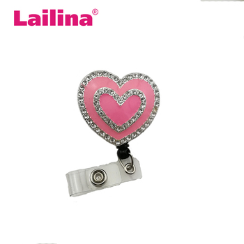 30pcs/lot Free Shipping Retractable Pink Double Heart Rhinestone ID Badge Holder Medical Nurse Gift Name Card Reel
