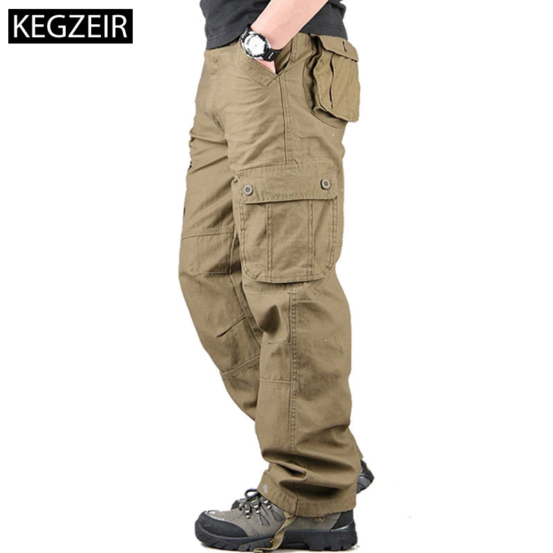 KEGZEIR Spring Mens Cargo Pants Many Pockets Men Trousers Casual Outdoors Military Pants Men Plus Size Pantalon Tactico Hombre