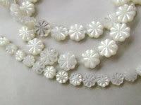 Handmade Natural White MOP Shell Flower Carved Beads White Mother of Pearl Carved Flower Beads 8 12mm full strand
