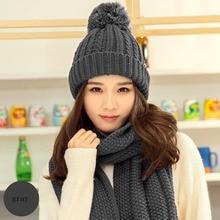 BING YUAN HAO XUAN Wool Fashion Winter Skullies Beanies Crochet Knit Cap For Women Warm Scarf And Hat Knitted Pompom Beanie