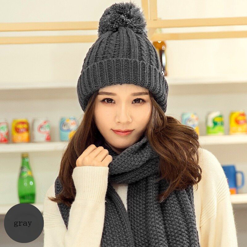 BING YUAN HAO XUAN Wool Fashion Winter Skullies Beanies Crochet Knit Cap For Women Warm Scarf And Hat Knitted Hat Pompom Beanie