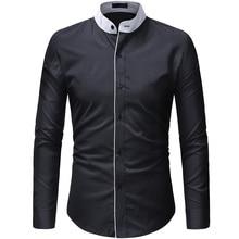 2019 New Fashion Casual Men Shirt Long Sleeve Mandarin Collar Slim Fit Korean Business Mens Dress Shirts Clothes
