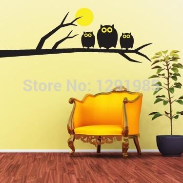 Owl On Tree Full Moon Bedroom Living Room Decor Mural Art Vinyl Wall font b Sticker
