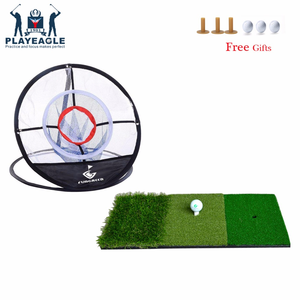 FUNGREEN 12''x24'' Golf Chipping Mat And Net Indoor Outdoor Backyard Practice Golf Mat With Golf Ball Protable Golf Training Aid