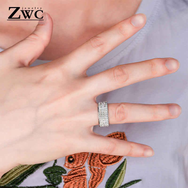 ZWC модные роскошные трендовые кольца для мужчин и женщин 8 мм 5 линий чистая кристальная Свадебная кольцо из нержавеющей стали ювелирные изделия