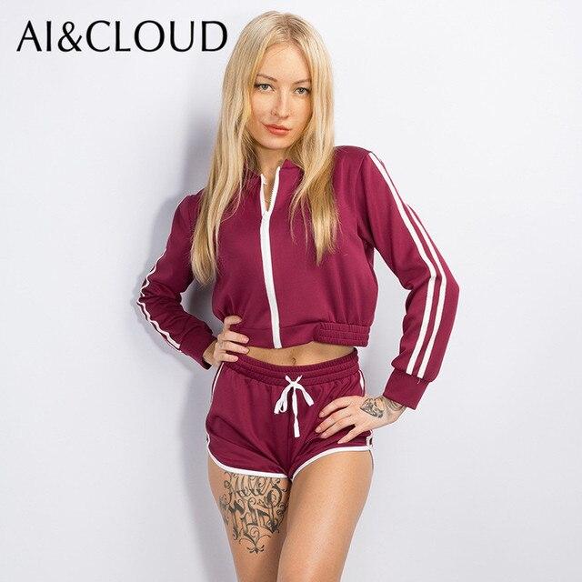 23c0b0e68 AI&CLOUD 2 Piece Set Women Suit Zip Pp Jacket Shorts Crop Hoodie Set Female  Winter Sweatshirt Pants Outfit Tracksuit