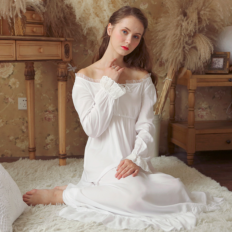 New Vintage   Nightgowns     Sleepshirts   Elegant Home Dress Lace Sleepwear Women Sleep & Lounge Soft Cotton   Nightgown