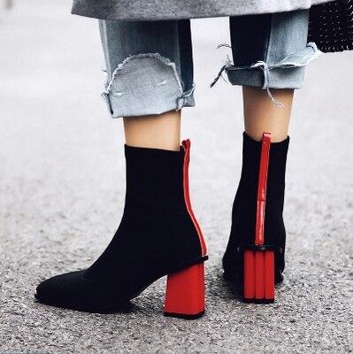 Seule De Luxe Automne Avec Pièce Femme Élastique rouge Style Chaussures Cuir D'hiver Talons jaune Cm Noir À En Et Femmes Épais D'une Bottes Hauts 6 Britannique Sexy t0wq1x