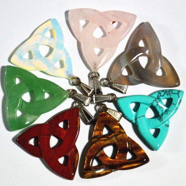 Nieuwe 2018 hot! hoge Kwaliteit Mengen mode Natuursteen Hollow driehoek hangers voor sieraden maken 10 stks/partij gratis verzending