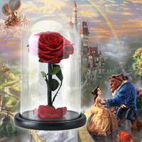 the Beauty and the Beast Artificial Flowers Decoration Red Eternal Rose in a Glass Dome Valentine Christmas Gift Dropshiping2018