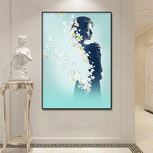 Image 4 - Canvas Painting Abstract Art Elegant female with flowers  Print Poster Pictures Oil pating For Living Room Decoration Wall atr