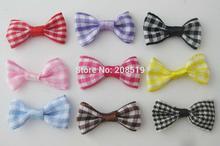FZNNSK 100 pieces fashion bowtie plaid design DIY craft decoration handmade ribbon bows