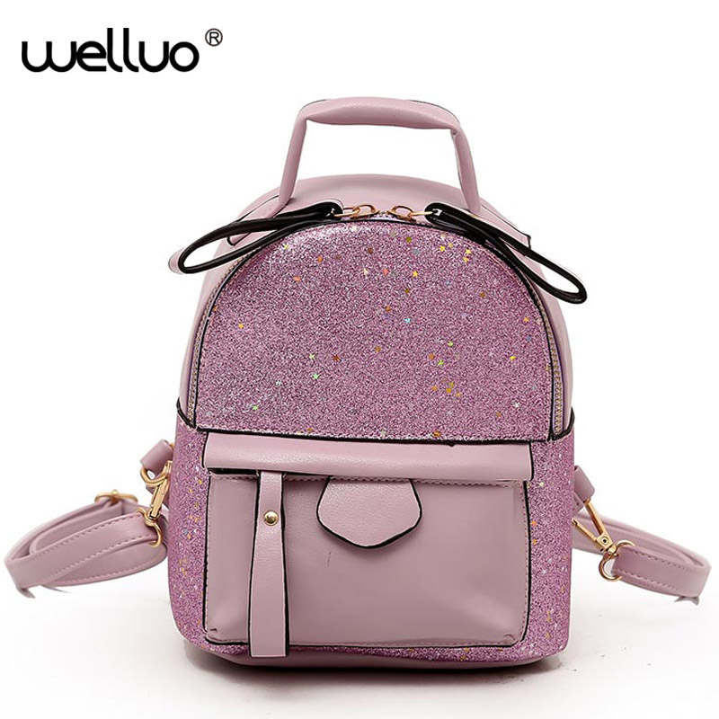 e4fccb8eb2 Detail Feedback Questions about Sequins Patchwork Backpacks Women s Fashion Mini  Backpack For Teenage Girls School Bags PU Leather Purple Travel Bag XA348WB  ...